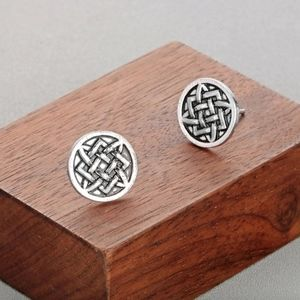 Ethnic Origami Antique Silver Circle Stud Earrings